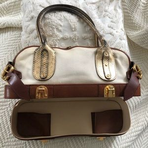 Authentic Chloe Canvas Leather Snake Vanity Bag